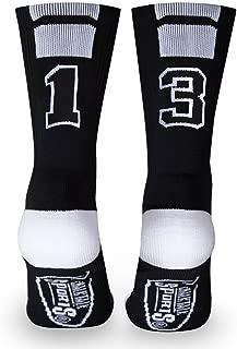 Custom Team Number Crew Socks | Athletic Socks by ChalkTalkSPORTS | Black | Choose Your Number