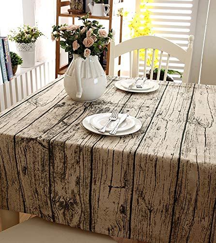 Manteles Ropa de cama y café de encaje mesa de imitación madera de la corteza del grano mantel de tela de mesa de la chimenea al aire libre Cubierta de mesa de la cocina en casa Decrotion Zjculuneur