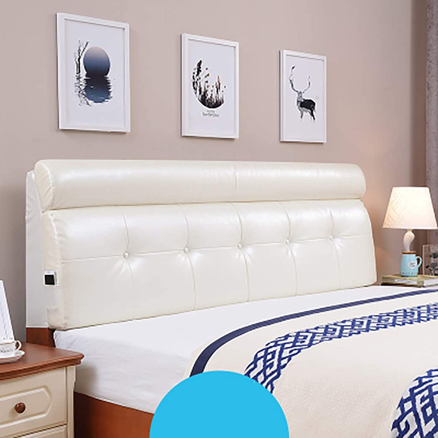 Headboard Bed Backrest Cushion Bed Cushion Bedside Pillow Leather with Bed headboard Large Soft Pillow Lumbar Support,Detachable 5 Solid colors 14 Sizes (color   Ivory White, Size   120  60  10CM)