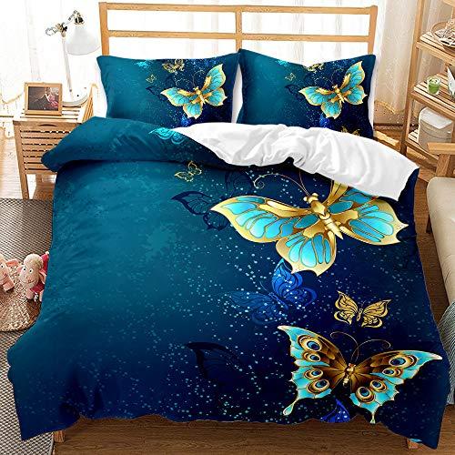 3D Goldener Schmetterling Bettbezug Bettwäsche Set 2/3 Teilig Bettbezüge Mikrofaser Kind Erwachsener Bettbezug mit Reißverschluss und 1/2 Kissenbezug (Goldener Schmetterling 07, 220 x 240 cm)