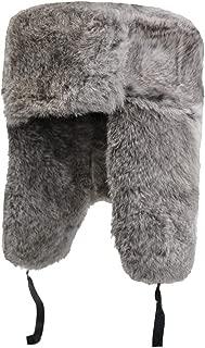 Genuine Rabbit Fur Russian Ushanka Winter Hat Trapper Bomber w/Ear Flaps