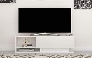 Decorotika Damlas Modern White TV Stand and Media Storage for up to 50
