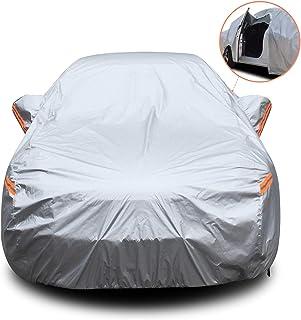 YIBEICO Funda para Coche Exterior Impermeable Cubierta de Protección Automóvil con Raya Zip/Fluorescente (490X190X145cm)