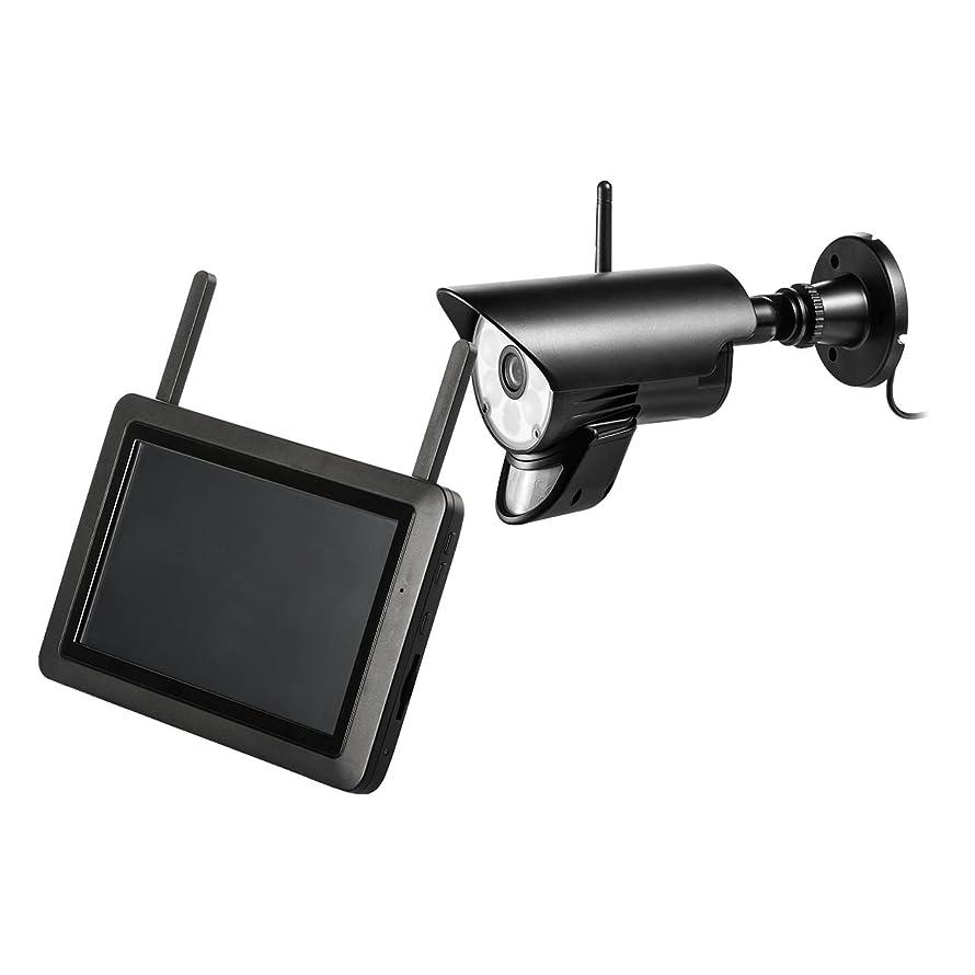 エミュレートする別に洞窟サンワダイレクト ワイヤレス 防犯カメラ モニター付き 屋外 200万画素 1080P SDカード録画 暗視 夜間カラー撮影 人感センサー 動体検知 防水 カメラ1台 400-CAM075-1