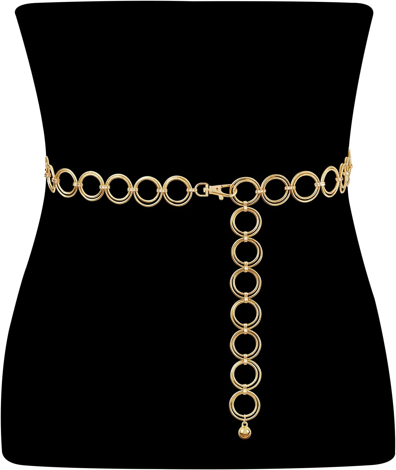 Metal Waist Chain Women Girls Adjustable Body Link Belts Fashion Belly Jewelry for Jeans Dresses Gold