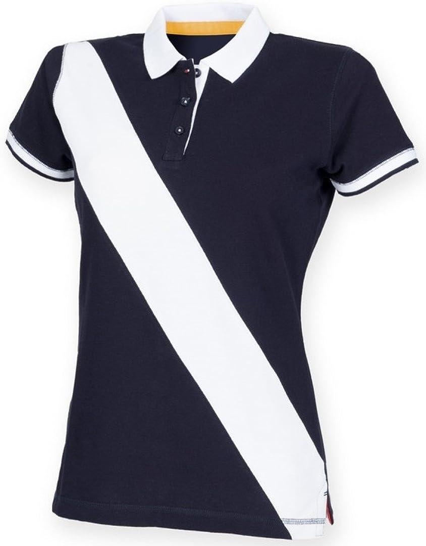 Front Row Women's Short Sleeve Diagonal Stripe Polo Shirt