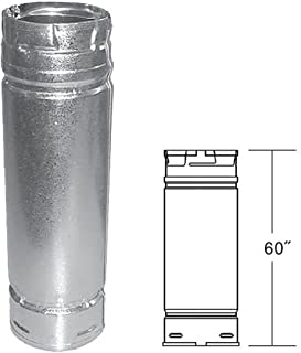 PelletVent Pro PVP-60 Straight Pipe, Stainless Steel Inner, Galvalume Outer, 3