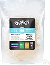 ALL-IN Capsule - 1000 Count Clear Empty Gelatin Capsules Size 00 - Compatible with Capsule Filling Machine - Fillable with Powders of Your Choice