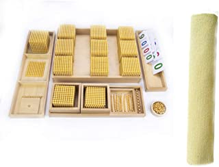 Montessori Bank Game Toy with work blanket,Golden Bead Materials Decimal System Bank Game Math Teaching Aids Materials