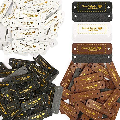 120 szt. PU ręcznie wykonane z etykietami miłosnymi - 5 x 1,5 cm szyte wytłaczane etykiety z otworami skórzana etykieta 3 różne kolory słowo do odzieży rękodzieła DIY, akcesoria do szycia ubrań (brąz/biały/czarny + złoty)