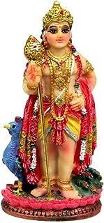 Krishna Culture Kartikeya with Peacock Figurine 3.5