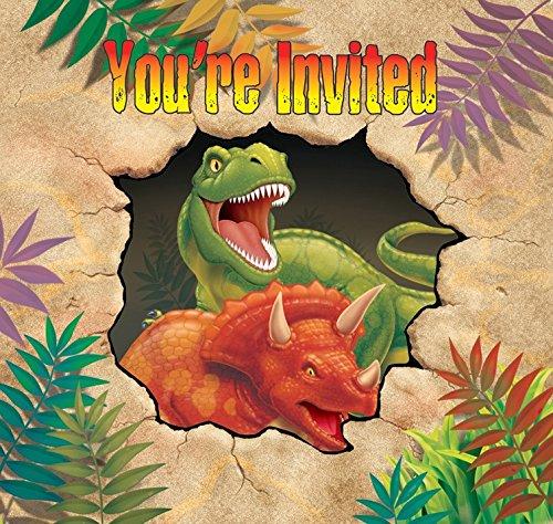 8 Cartes d'invitation anniversaire Dinosaures - taille - Taille Unique - 228543