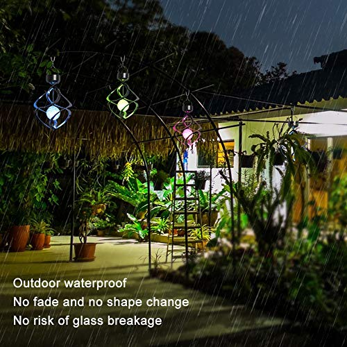 MorTime LED Solar Revolving Wind Chimes Hanging Spiral Solar Lights Outdoors