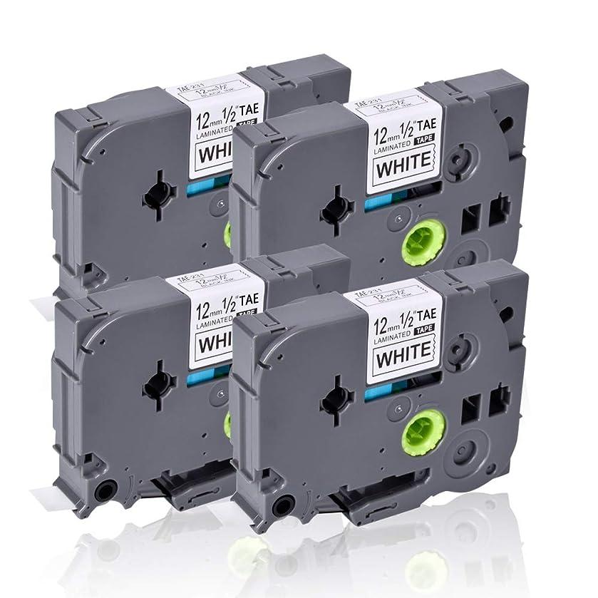 4 Pack Compatible for Brother P-Touch Label Maker Tape TZe-231 Tze231 Black on White TZ TZe 12mm 0.47 Laminated White for Brother P-Touch PT-D210 PT-H100 PT-H110 PT-D400 PT-D200 PT-D600 Labels Tape