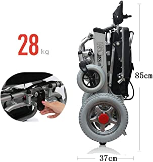 HEUFHU888 Sedie a rotelle elettriche Scooter Anziani Carrelli a Controllo Intelligente Sedie a rotelle Leggere per Uso Medico Sedie a rotelle a Quattro Ruote Pieghevoli Color : Red - Dual Control