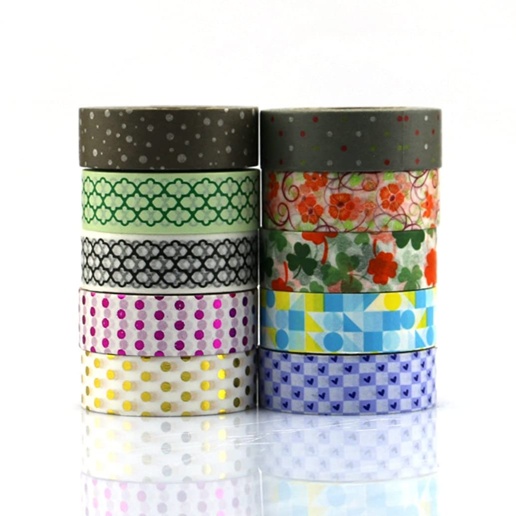Washi Masking tape set of 10 rolls,15MM X 10M Decorative Masking Tape Collection,Tape for DIY Crafts and Gift Wrapping Office Party Supplies