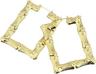 Fashion Earrings, gLoaSublim Fashion Women Hollow Big Heart/Square/Circle/Star Embossed Bamboo Stud Earrings - Double Circle