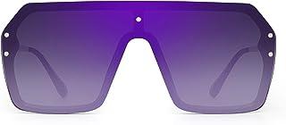 Oversized Shield Sunglasses Flat Top Gradient Lens Rimless Glasses for Women Men