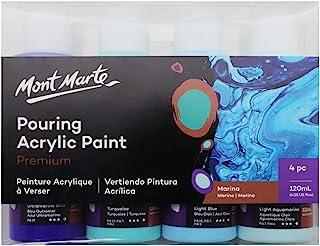 Mont Marte Premium Acrylic Pouring Paint Set, Marina, 4 x 4oz (120ml) Bottles, Pre-mixed Acrylic Paint, Suitable for a Var...