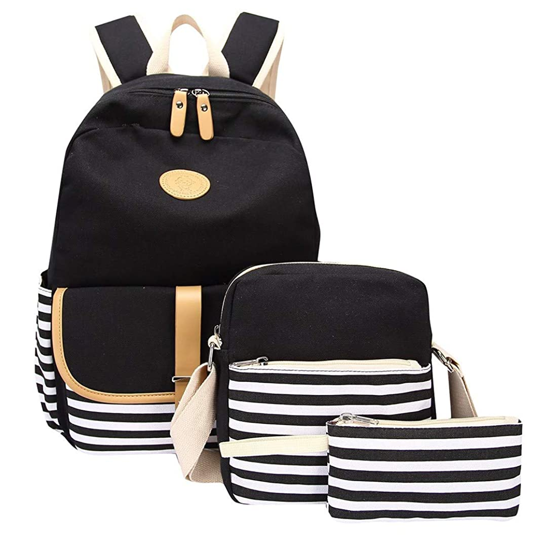 Student Backpack Set,3PC Women Ladies Girl Canvas Laptop Daypack Striped Shoulder Bookbags Purse Bags