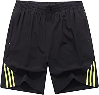 Luckyoung Men's Big Size Outdoor Sports Quick Dry Gym Running Shorts Zipper Pokcets