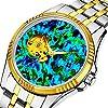 時計、機械式時計 メンズウォッチクラシックスタイルのメカニカルウォッチスケルトンステンレススチールタイムレスデザインメカニ (ゴールド)-212. 青と緑の万華鏡ウォッチ
