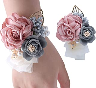VEIDO Wrist Flower Corsage Rose Flowers Brooch for Wedding Party Prom Wristband Flower Set 2 Pack Corsage04 (Pink)
