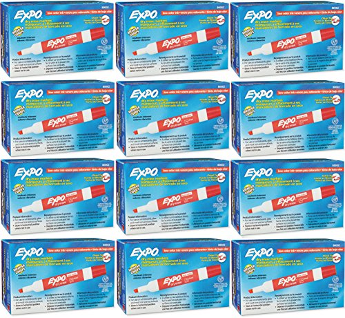 Expo 80002 Low Odor Chisel Point Dry Erase Markers, Write On Whiteboards, Glass and Most Non-Porous Surfaces, Red, 12 Units/Box, Case of 12 Boxes, 144 Markers Total