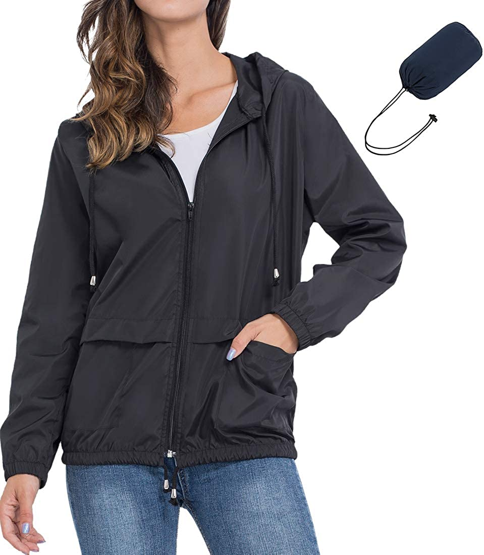 Dakiwin Womens Lightweight Rain Raincoat Waterproof Max 87% OFF Packa Jacket Direct sale of manufacturer