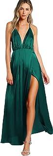 Women's Sexy Satin Deep V Neck Backless Maxi Party Evening Dress