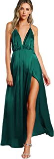 Women's Sexy Satin Deep V Neck Backless Maxi Party Evening Dress
