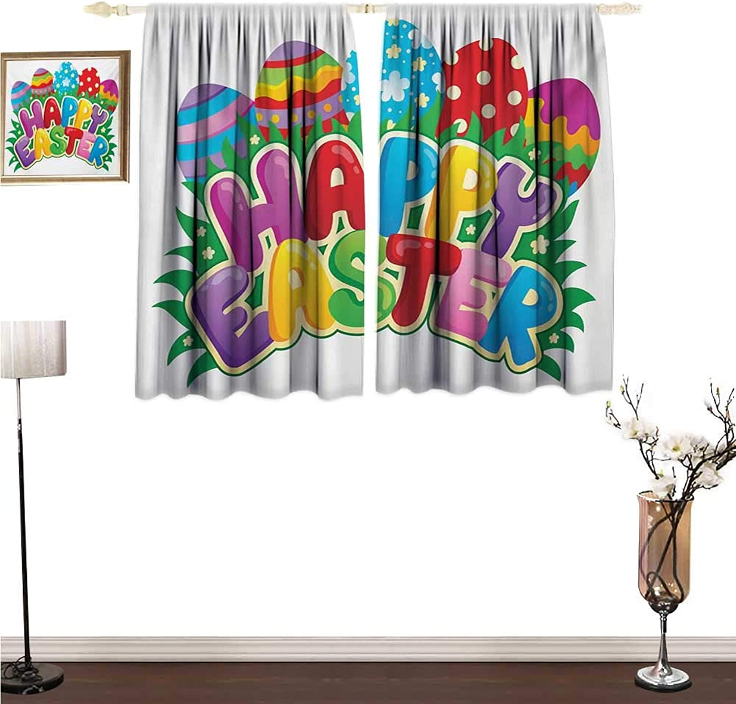 Unpremoon Curtian Easter,Cartoon Style Ornamental Eggs with Polka Dots Flowers and Stripes Happy Easter Quote,Multicolor Blackout Drapes for Bedroom W55 x L45
