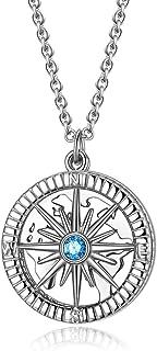 Collar con colgante de brújula de plata de ley S925 para mujer, 45,7 cm