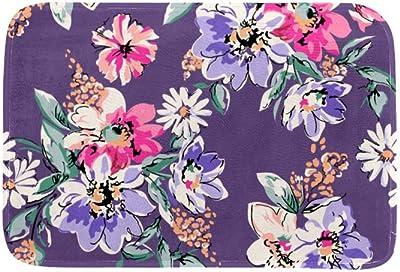 EGGDIOQ Doormats Flower Print in Purple Custom Print Bathroom Mat Waterproof Fabric Kitchen Entrance Rug, 23.6 x 15.7in