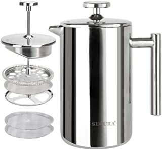 Secura French Press Coffee Maker, 304 Grade Stainless Steel Insulated Coffee Press with 2..