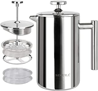 Secura French Press Coffee Maker, 304 Grade Stainless Steel Insulated Coffee Press with 2 extra Screens, 17oz (0.5 Litre), Silver