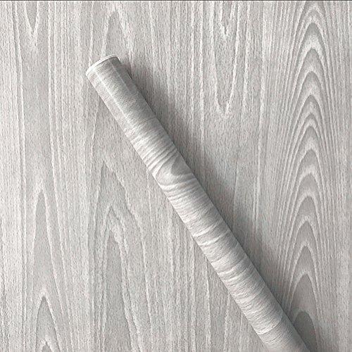 Teemall Light Gray Wood Grain Self Adhesive Sticker Wallpaper Furnitur Cabinets Wardrobe Shelf Liner 17.7 In X 98In