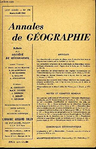 ANNALES DE GEOGRAPHIE N°378 - Le