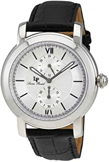 Men's LP-40026-02S Spiga Stainless Steel Watch with Black Leather Band