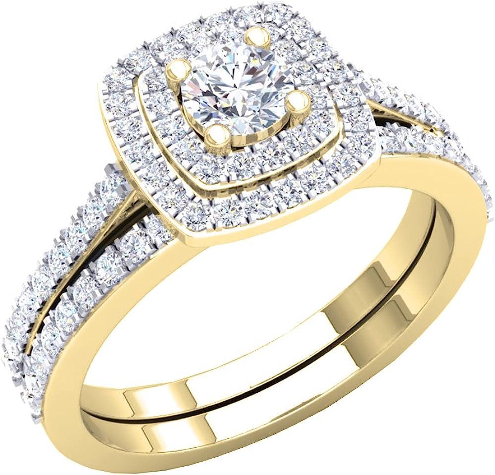 Dazzlingrock Collection 1.50 Carat (ctw) Round Cubic Zirconia Ladies Halo Bridal Engagement Ring Set 1 1/2 CT, 10K Gold