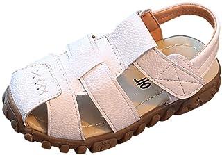comprar comparacion Sandalias niña niño Verano Riou con Punta Cerrada Zapatos en Cuero Zapatillas Velcro Zapatillas de Deporte Al Aire Libre A...