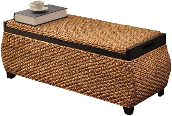 YUN HAI Vine Woven Storage Bench Entryway Rectangle Large Shoe Bench With Lift Top Traditional Woven Shoe Stool Long Shoe Chair For Bedroom Livingroom