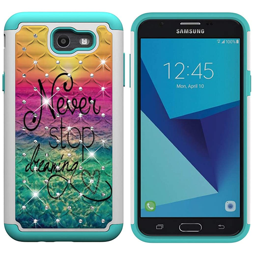 IVY Galaxy J7 2017 [2 in 1] PC+TPU Phone Case [Coloured Drawing & Diamond] Hybrid Dual Layer Armor Cover for Samsung J7 V/Galaxy Halo/J7 Prime/J7 Perx /J7 Sky Pro SM-J720 - Dream kddipwit32850