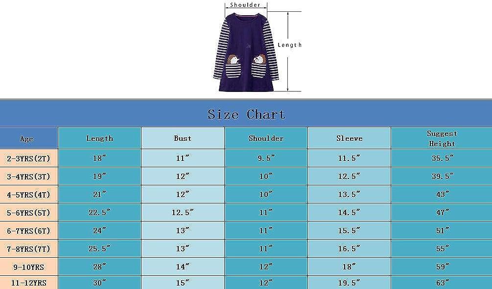 HILEELANG Toddler Girl Casual Dress Stripe Long Sleeve Autumn Winter Cotton Basic Shirt Christmas Outfit Dress