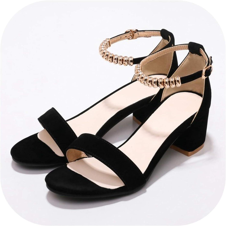 Women's Sandals Summer Flock Open Toe String Bead Buckle Thick Heel mid Heel Women's shoes