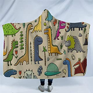 Hooded Blanket 3D,Walking Natural Personality Dinosaur Animal,Men Women Printing Plush Fleece Wearable Hood Blankets Warming Sherpa Wrap Throw For Winter/Autumn/Spring Lightweight,150X130Cm/60