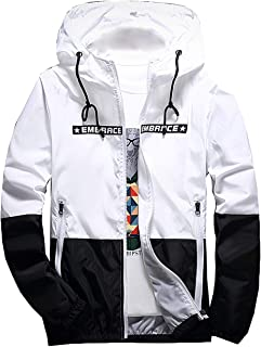 da48ab79e30 ZOXO Men s Windbreaker Hooded Jacket Lightweight Casual Zip-up Bomber Coat  Letter Outwear