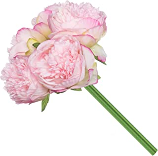 Royal Imports Peony Flowers Vintage Artificial Silk 5 Single Stems for Bouquet, Home Decoration, Wedding Centerpiece, Wreaths, Floral Arrangements, Dark Pink