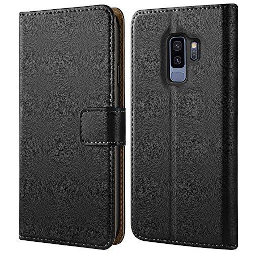 HOOMIL Handyhülle für Samsung Galaxy S9 Plus Hülle Leder Tasche Flip Case Schutzhülle Kompatibel mit Samsung S9 Plus Hülle Schwarz