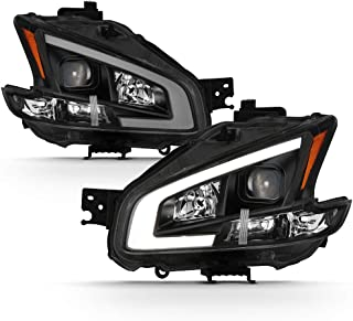 ACANII - For 2009-2014 Nissan Maxima Black UPGRADE LED Tube Style Projector Headlights Headlamps Driver+Passenger Side